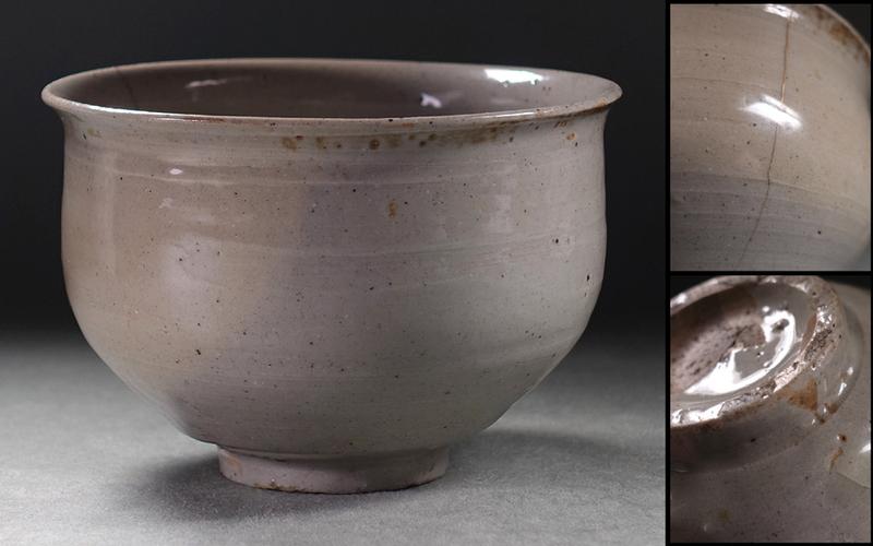 ?花?16~17世紀李朝時代中期 熊川形の凛々しい高麗堅手茶碗 姿釉調申し分なし ◇9