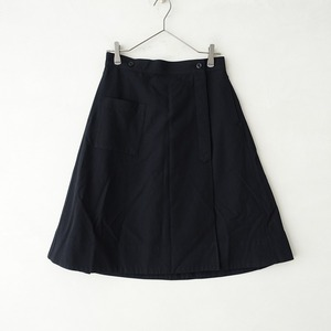 ■マーガレットハウエル MHL. MARGARET HOWELL MHL. *ウールラップスカート*1巻きスカート濃紺ダークネイビー1021【81J12】