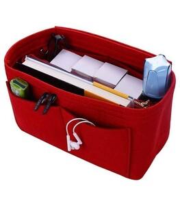 バッグインバッグ  インナーバッグ レッド  フェルト シンプル  大容量