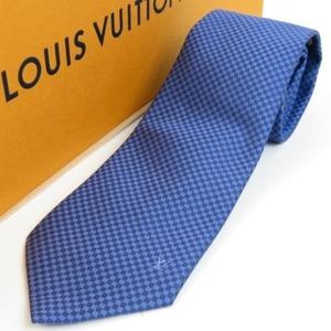73447LOUIS VUITTON ルイヴィトン 未使用品 スーツ ビジネス ダミエ柄 ネクタイ シルク ブルー メンズ