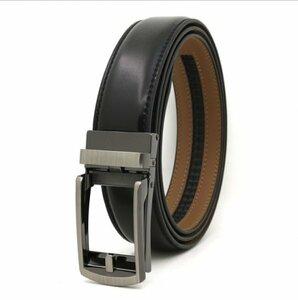 ベルト オートロック式バックル 本革 牛革 レザー ビジネス カジュアル バックル取替可能 ベルト長さ調整可能 ブラック BE1-2