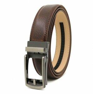 ベルト オートロック式バックル 本革 牛革 レザー ビジネス カジュアル バックル取替可能 ベルト長さ調整可能 ブラウン BE1-9