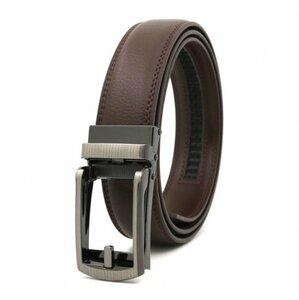 ベルト オートロック式バックル 本革 牛革 レザー ビジネス カジュアル バックル取替可能 ベルト長さ調整可能 ブラウン BE1-7