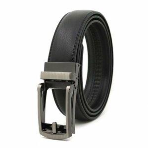 ベルト オートロック式バックル 本革 牛革 レザー ビジネス カジュアル バックル取替可能 ベルト長さ調整可能 ブラック BE1-1