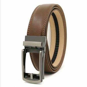ベルト オートロック式バックル 本革 牛革 レザー ビジネス カジュアル バックル取替可能 ベルト長さ調整可能 ブラウン BE1-10