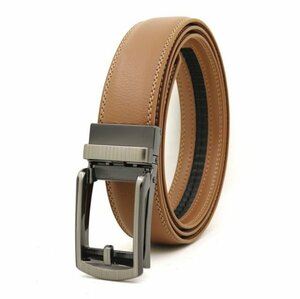 ベルト オートロック式バックル 本革 牛革 レザー ビジネス カジュアル バックル取替可能 ベルト長さ調整可能 ベージュ BE1-12