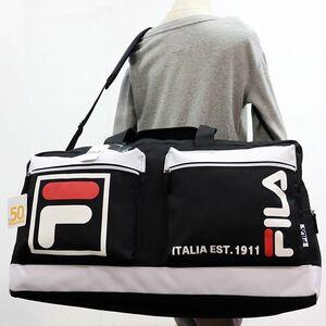 ★フィラ FILA 新品 大容量 50L 収納力 スポーツ 旅行 トラベル ボストンバッグ ショルダーバッグ BAG 鞄 黒 [FIMB0411-BK] 一 六★QWER★