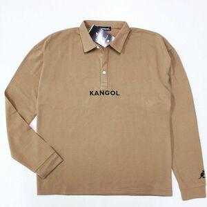★ カンゴール KANGOL 今から着用 ! メンズ 鹿の子 ロゴ刺繍 シンプル シャツ 長袖 ポロシャツ ベージュ[SH546F151N-F]一 三 零★QWER