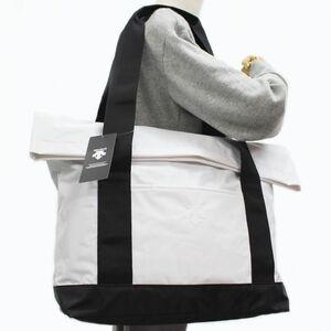 ★デサント DESCENTE 新品 出し入れしやすい! 耐水 ナイロン トートバッグ エコバッグ バッグ BAG 鞄 白 [DMWRJA00WH1N] 一 六★QWER★