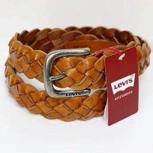 ★リーバイス LEVIS 新品 メンズ ロゴ入り 牛革 レザー 高品質 カジュアル ベルト 茶 キャメル[37456-0032-OS] 一 八★QWER★