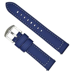 時計ベルト シンプル ステッチ 青(ブルー) 18mm
