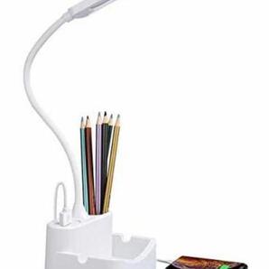 デスクライト 多機能ライト3段階調色 無段階調光 USB扇風機対応 目に優しい LED 卓上ライト ホワイトUSBポート付き