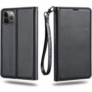 iPhone 13 Pro Max ケース 6.7インチ ストラップ付き 折り畳み式 3枚名刺カード入れ Qi充電対応 ブラック