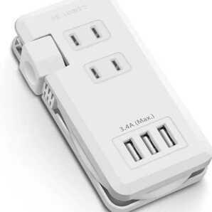USBコンセント USB延長コード (AC差込口x2 USBポートx3(USB-A 2.4Ax1 USB-A 1.0Ax2)電源タップ 20㎝延長コード ACアダプター