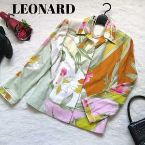 LEONARD レオナール テーラードジャケット 花柄 フラワー 日本製 コットン 11AR L 長袖