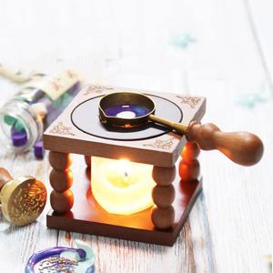 スタンプ シーリングワックス炉とスプーン 蝋燭付き