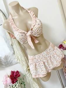 ●レディス水着 9M●レベッカティラー◆日本製*ワイヤービキニ*ひらひらパレオスカート水着:桜ピンク