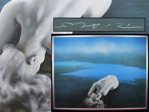 【魁】真作保証 2005年代表作品 森秀雄 超傑作個展代表作「偽りの青空 湖畔に女一人」F80 圧巻 東京芸術劇場個展一点物購入 森秀雄代表作
