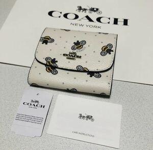 ☆COACH コーチ F25972 二つ折り財布 ハチ ミツバチ 蜂 白 ホワイト スモールウォレット ビープリント 三つ折り財布★