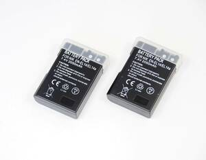 2個セット【EN-EL14 / EL14A】ニコン●2050mAh 互換バッテリー PSE認証 保護回路内蔵 バッテリー残量表示可 リチウムイオン充電池