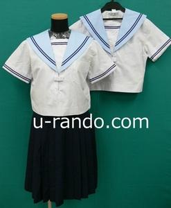 コスプレ衣装 #9690 水色エリ紺2本ラインの夏セーラーセット・サイズ155