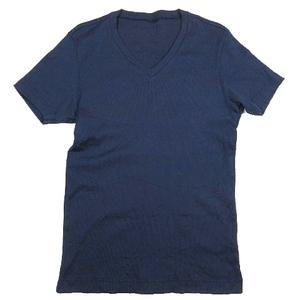 エポカ ウォモ EPOCA UOMO Vネック カットソー 半袖 ロゴ プリント Tシャツ 46 紺 ネイビー/6 メンズ