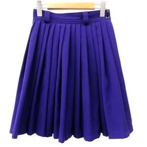 ジャンニヴェルサーチ ヴェルサーチェ GIANNI VERSACE スカート プリーツ ミニ ウール100% 無地 イタリア製 紫 38 S相当 レディース