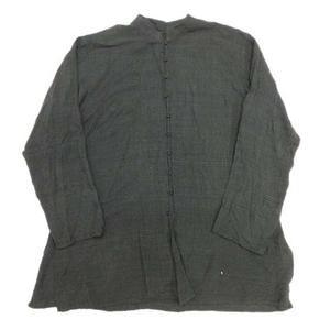 ヨーガンレール JURGEN LEHL シルク100% バンドカラーシャツ チュニック ブラウス カットソー 長袖 M 深緑/1■10 レディース