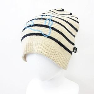 パーリーゲイツ PEARLY GATES ゴルフ 小物 帽子 ニット帽 ニットキャップ リバーシブル ボーダー プリント ロゴ ベージュ ブラック ブルー