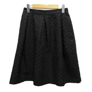 ユナイテッドアローズ UNITED ARROWS スカート フレア タック チェック 膝丈 40 黒 ブラック レディース