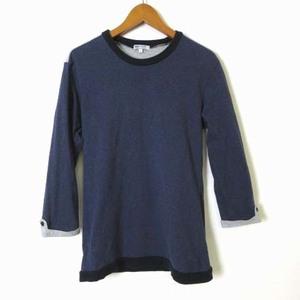 ビームス BEAMS Tシャツ ロンT カットソー コットン 100% 後 ヨーク 切替 ロールアップ 7分袖 S 紺 ネイビー グレー 黒 ブラック