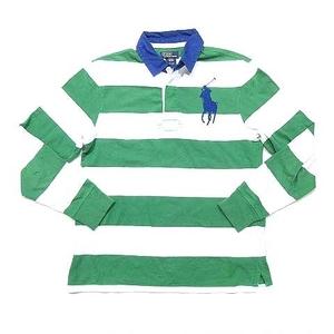 ポロ バイ ラルフローレン Polo by Ralph Lauren ポロシャツ ラガーシャツ 長袖 ボーダー ビッグポニー 緑系 M 国内正規 ECR6 メンズ