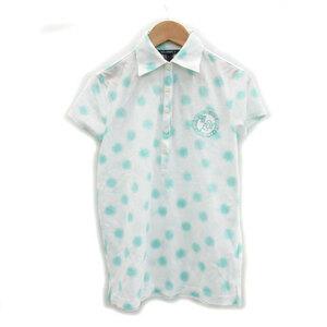未使用品 ゾーイ ZOY ゴルフウェア ポロシャツ 半袖 鹿の子 ロゴ刺繍 透け感 ドット柄 40 ホワイト 白 /MS24 レディース