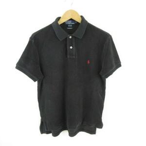 ポロ バイ ラルフローレン Polo by Ralph Lauren カットソー ポロシャツ 半袖 パイル地 ワンポイント 黒 L *E293 メンズ