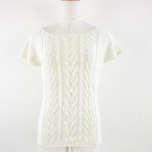 クミキョク 組曲 KUMIKYOKU ニット セーター 半袖 ケーブル 薄手 オフホワイト 2 *A661 レディース