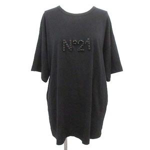 ヌメロヴェントゥーノ N°21 Tシャツ ロゴ ビジュー スタッズ 半袖 カットソー 40 M 黒 ブラック /☆G レディース