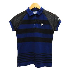 パーリーゲイツ PEARLY GATES ポロシャツ カットソー 半袖 ボーダー メッシュ ロゴ 切替 0 紺 ネイビー 黒 ブラック レディース