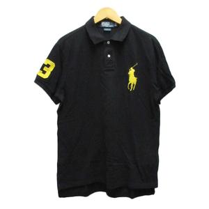 ポロ バイ ラルフローレン Polo by Ralph Lauren ポロシャツ ワンポイント ロゴ刺繍 半袖 L 黒 ブラック 黄 イエロー メンズ