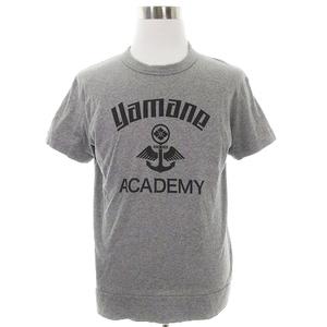 ヤマネギャランティード YAMANE GUARANTEED Tシャツ カットソー 半袖 クルーネック 薄手 コットン プリント 42 グレー トップス /BT メンズ