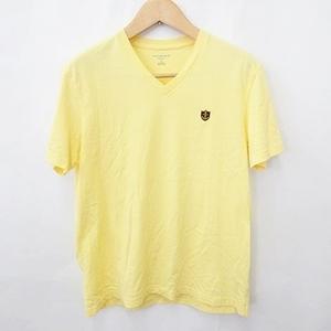 中古 ランズエンド LANDS' END カットソー Tシャツ 半袖 Vネック 刺繍 綿 黄 イエロー L メンズ