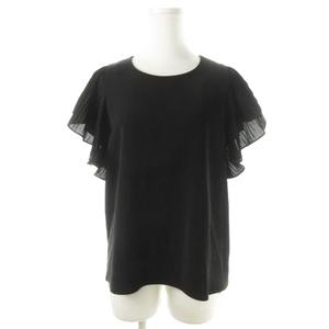 未使用品 レイビームス Ray Beams ブラウス ラウンドネック 半袖 プリーツ 黒 ブラック /CK11 ☆ レディース