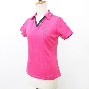 ルコックスポルティフ le coq sportif スポーツ ウエア ポロシャツ 半袖 スキッパー衿 配色 綿 ピンク 紺 ネイビー M