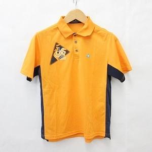 ルコックスポルティフ le coq sportif ゴルフウェア ポロシャツ 半袖 プリント 刺繍 ロゴ オレンジ 紺 ネイビー 白 M