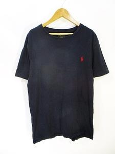 ポロ バイ ラルフローレン Polo by Ralph Lauren Tシャツ カットソー 半袖 クルーネック ワンポイント 紺色 ネイビー M 国内正規 メンズ