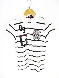 パーリーゲイツ PEARLY GATES ゴルフ ウェア ポロシャツ 半袖 ロゴ ボーダー 白 黒 ホワイト ブラック size0 国内正規 レディース