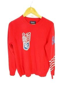 パーリーゲイツ PEARLY GATES ゴルフ ウェア ニット セーター カシミヤ 100% 長袖 ロゴ 赤 レッド size0 国内正規 レディース