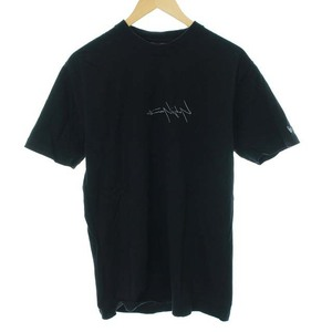 ヨウジヤマモトプールオム YOHJI YAMAMOTO POUR HOMME ニューエラ 17AW 反転ロゴ Tシャツ カットソー クルーネック 半袖 L 黒 メンズ