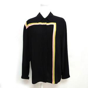 ジャンニヴェルサーチ ヴェルサーチェ GIANNI VERSACE 長袖 シャツ シルク100% ラインデザイン ヴィンテージ ブラック 黒 40 1008