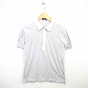 エポカ ウォモ EPOCA UOMO ポロシャツ シャツ ストライプ ハーフジップ 半袖 48 グレー ホワイト 白 /TT17 メンズ