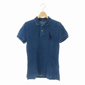ポロ ラルフローレン POLO RALPH LAUREN ポロシャツ カットソー 半袖 ビッグポニー 刺繍 SP 青 ブルー /AA レディース